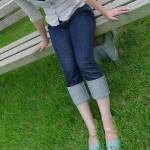 桃太郎ジーンズ2ヶ月目の写真と感想:少し伸びて馴染んできた。色落ちはまだまだ。