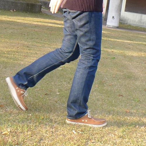 細身のジーンズ×革靴(レザー ...